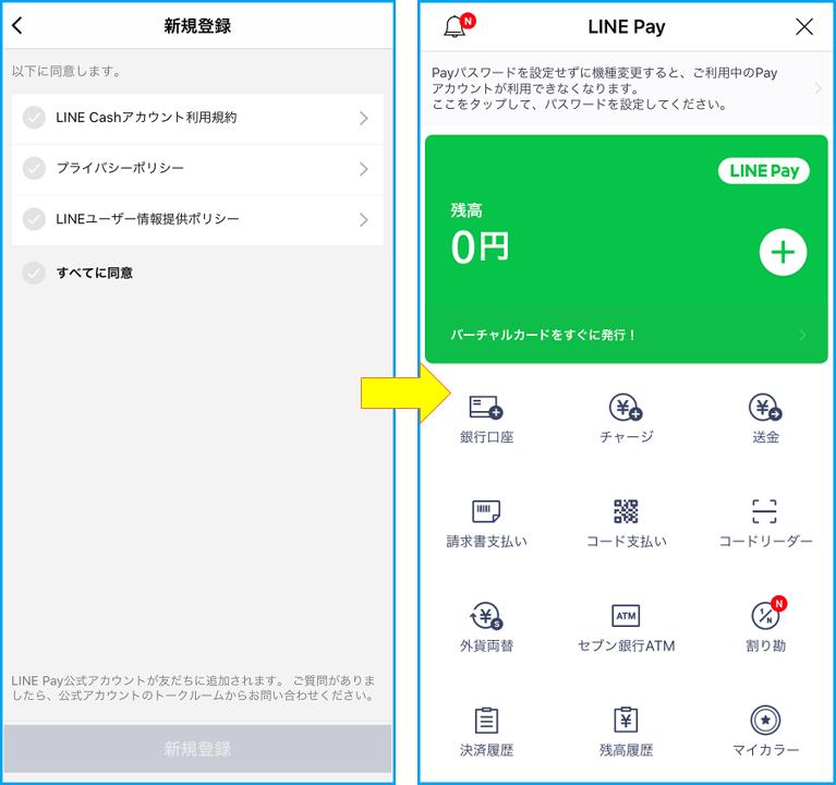 LINE Payの利用登録画面